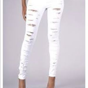 💐Wax jean NEW white distressed jeans